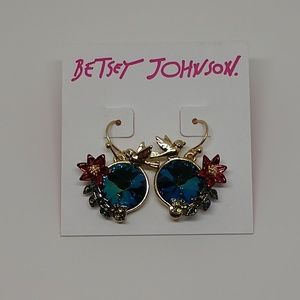 Betsey Johnson bird and floral earrings